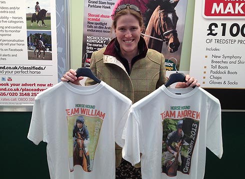 Eventing editor Pippa Roome with Team Andrew and Team William t-shirts