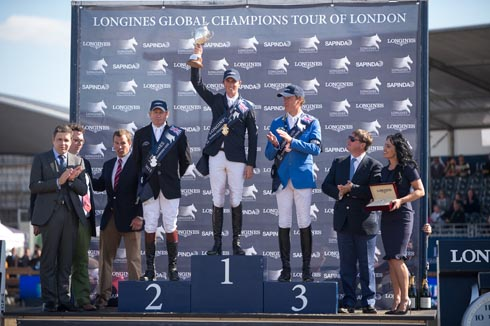 Ben Maher, Nick Skelton and Christian Ahlmann on the London Global Champions Tour podium