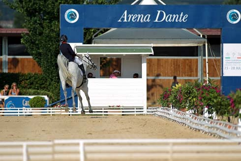 Charlotte Bacon riding Three Wells Breeze after her dressage test at the European Championships