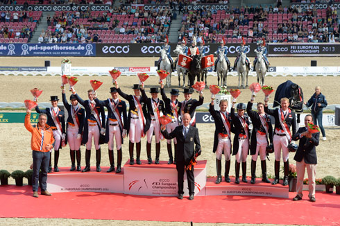 The top 3 teams in the European Dressage Championships [left to right: The Netherlands, Germany, Great Britain]