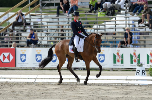 Pippa Funnell riding Mirage d'Elle (GBR) during the dressage of the HSBC FEI European Eventing Championship in Malmo Sweden in August 2013
