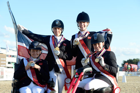 The British team with their gold medals at the European para dressage championships