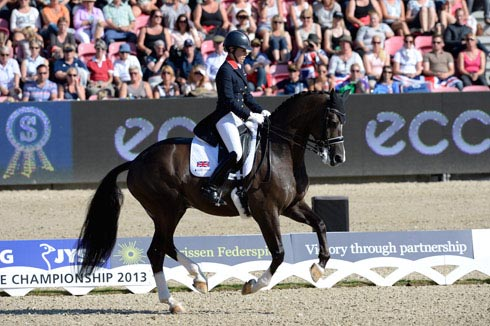 Charlotte Dujardin and Valegro on their way to winning the grand prix freestyle at the 2013 Europeans