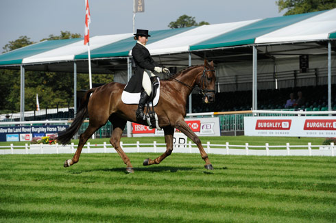 Alex Postolowsky riding Islanmore Ginger during the dressage at The Land Rover Burghley Horse Trials 2013