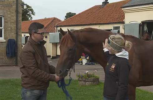 Laura Collett with Aljamaaheer and his trainer Roger Varian
