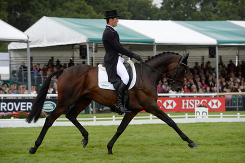 Jock Paget riding Clifton Promise during the dressage at Land Rover Burghley Horse Trials