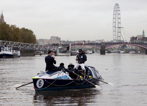Polo players prepare to row across the Atlantic