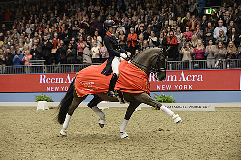 Charlotte Dujardin and Valegro after setting a new world record at Olympia