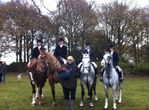 Rosie Fry's family hunting with the Warwickshire