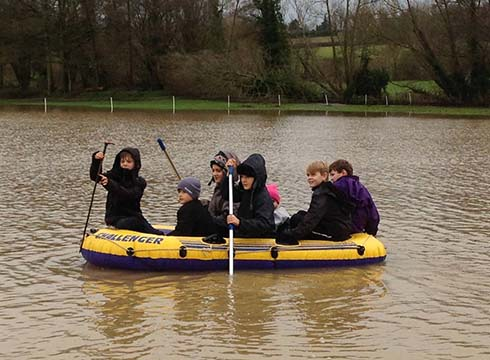 Jason Webb's children enjoying the floods