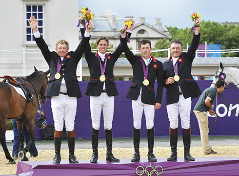 The gold medal winning British team at the London 2012 Olympic Games