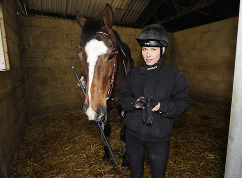 Lucy Bridgwater at home with The Giant Bolster
