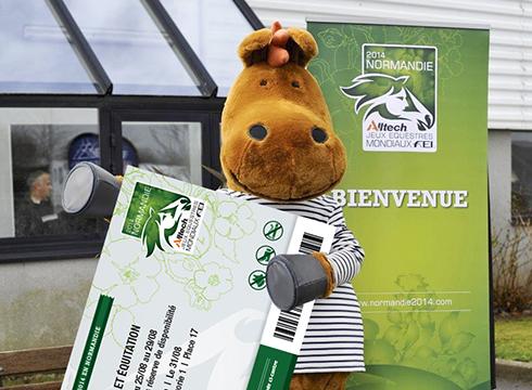 Norman WEG mascot with an oversized ticket