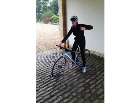 Rosie Fry on her bicycle