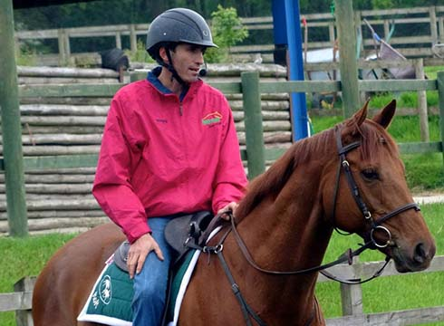 Jason riding a retrained racehorse