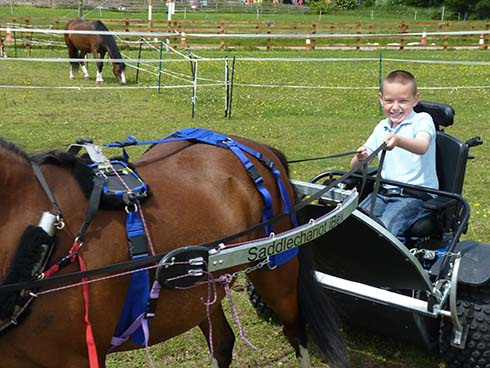 Ethan driving his pony