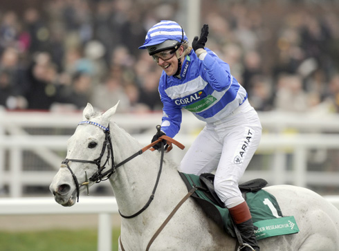 Tina Cook wins the charity race at Cheltenham 2012