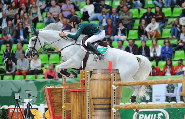 Bertram Allen riding Molly Malone V for Ireland during the first round of the showjumping competition