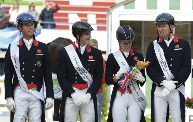 World Equestrian Games dressage results: riders on the podium