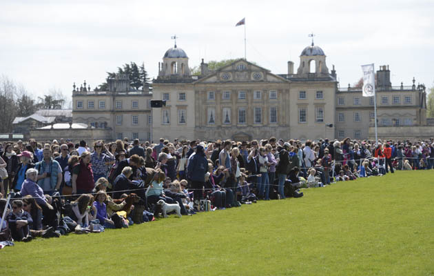 Crowd of spectators in front of Badminton house