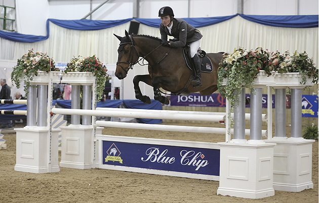 Blue Chip Show Jumping Championships2014 Thursday 3rd March 2014 Class 10 WOW Saddles Star Championship Winner Tony Pearson and Arash FREE REUSE DO NOT OWN