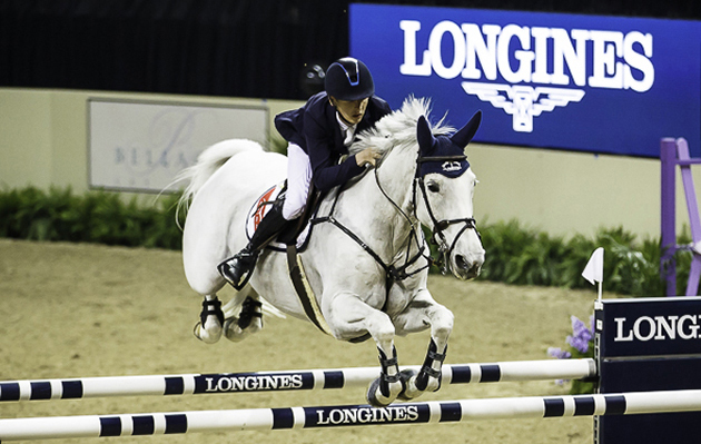Bertram Allen and Molly Malone take the opening speed leg of the Longines FEI World Cup jumping final 2015 in Las Vegas. Picture by Libby Law Photography