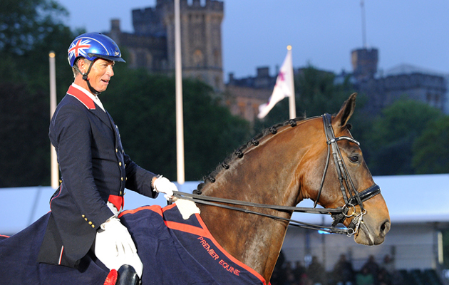 Carl Hester riding Nip Tuck winner of the Grand Prix Dressage Competition during the Royal Windsor Horse Show in Windsor Castle, Berkshire, UK between 13th-17 May 2015
