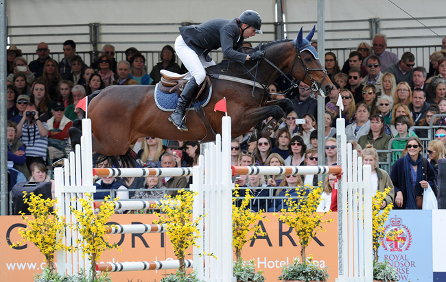 Dermott Lennon riding LOUGHVIEW LOU-LOU winner of the Alltech Grand Prix for The Kingdom of Bahrain Trophy Jumping Competition during the Royal Windsor Horse Show in Windsor Castle, Berkshire, UK between 13th-17 May 2015