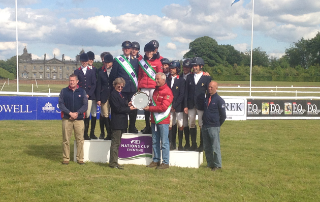 The German, British and French teams on the Nations Cup podium at Houghton 2015