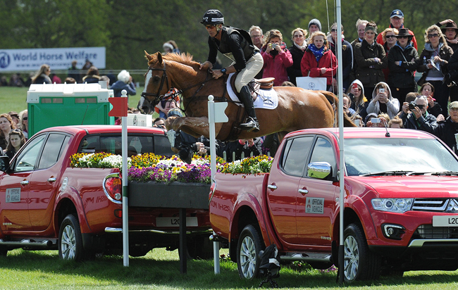 Andrew Nicholson (NZL) riding Nereo during the cross country phase of The Mitsubishi Motors Badminton Horse Trials at Badminton in Gloucestershire, UK; on 9th May 2015