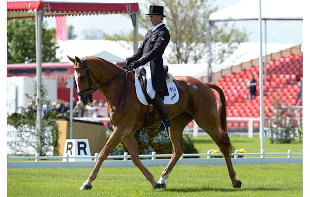 Andrew Nicholson (NZL) riding Nereo during the Dressage phase of The Mitsubishi Motors Badminton Horse Trials at Badminton in Gloucestershire, UK; on 7th May 2015