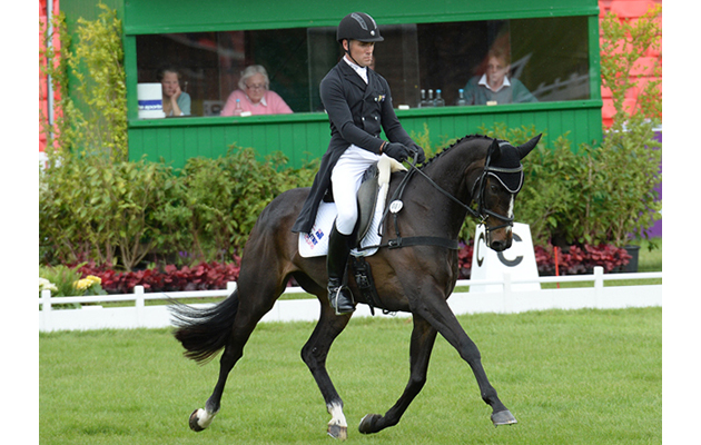 Paul Tapner (AUS) riding Indian Mill during the dressage phase of The Mitsubishi Motors Badminton Horse Trials at Badminton in Gloucestershire, UK; on 7th May 2015