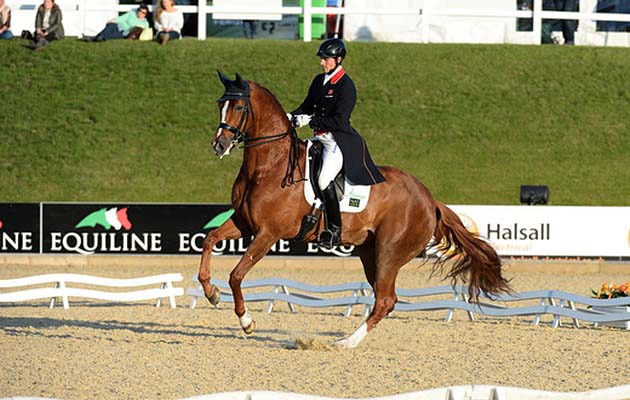 Michael EILBERG riding WOODLANDER FAVOCHE; winner of Dressage Competition at Bolesworth CSI **** International, at Bolesworth Castle, Tattenhall, near Chester on the 18th June 2015