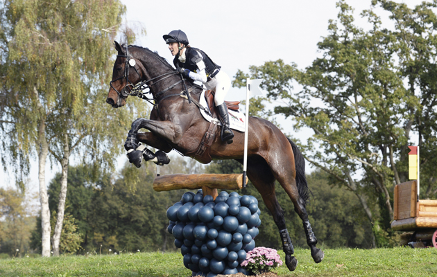 Dee HANKEY (GBR) riding CHEQUERS PLAYBOY during the cross country phase of the CCI**** at Les Etoiles de Pau, in Pau France between 23th -26th October 2014