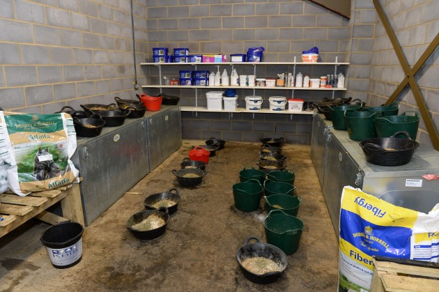 Horses feed laid out in Feed room at Piggy French's yard at Maidwell Lodge Farm, Maidwell, Northamptonshire, UK on 2nd June 2015