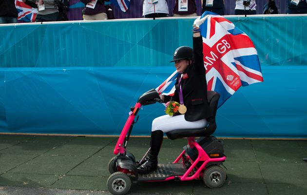 Natasha Baker on her pink scooter called Jordan