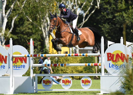 CHLOE WINCHESTER riding AVOCA VALKYRIE; Winner of The Templant Events Queen Elizabeth II Cup at The Longines Royal International Horse Show, at The All England Jumping Course, Hickstead, West Sussex, UK 01 August 2015