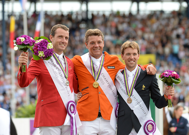 Individual medallists at the 2015 European Showjumping Championships: the Netherlands' Jeroen Dubbeldam (gold), Belgium's Gregory Wathelet (silver) and France's Simon Delestre (bronze). Picture by Peter Nixon