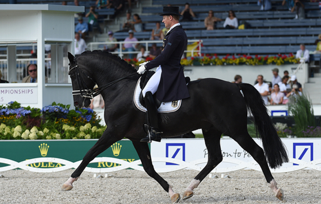 Matthias Alexander RATH (GER) riding Totilas during the Grand Prix Team Competition at the FEI European Championships in Aachen, Germany on 13 August 2015