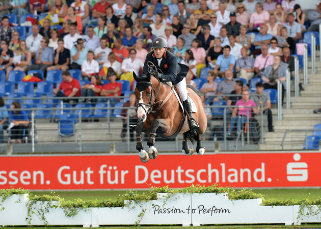 Joe CLEE (GBR) riding Utamaro d'Ecaussines during the Second Qualifying Competition for the European Team Jumping competition at the FEI European Championships in Aachen, Germany on 20 August 2015