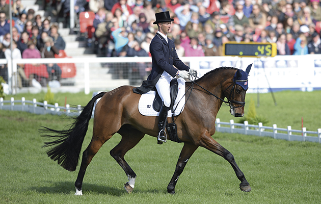 Clark Montgomery (USA) riding Loughan Glen during the Dressage at the Badminton Horse Trials Gloucestershire, UK, 7-11th May, 2014