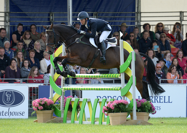 Clark Montgomery riding LOUGHAN GLEN, during the Showjumping phase of The Blenheim Palace International Horse Trials near Woodstock in Oxfordshire, UK, on 20th September 2015
