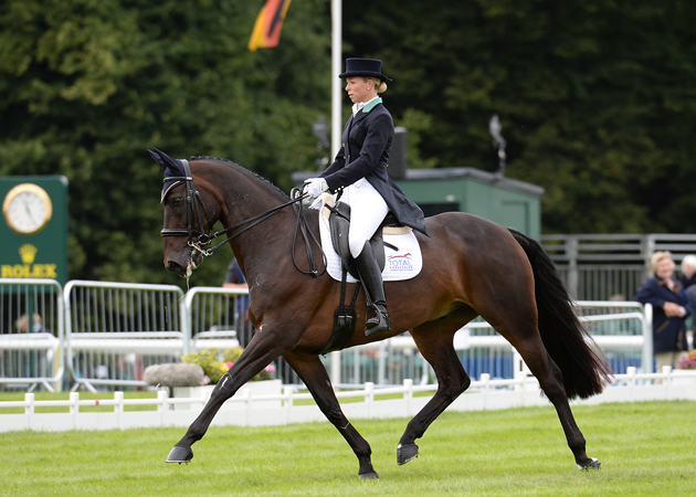 Coral Keen riding WELLSHEAD FARE OPPOSITION; during the dressage of The Land Rover Burghley Horse Trials near Stamford in Lincolnshire, UK, on 4th September 2015
