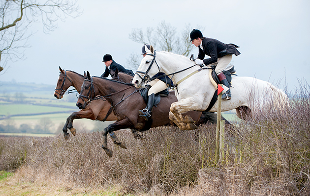 The Cottesmore Hunt meet at Marefield, Rutland, and hunting between Burrough on the Hill and Owston, February 2011.