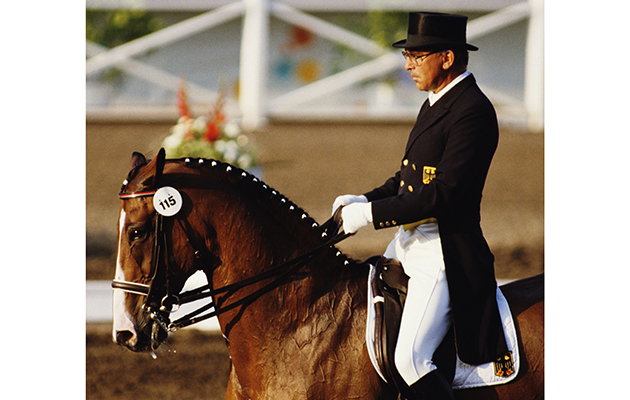 Reiner Klimke of Germany riding Ahlerich during the Individual Mixed Dressage event on 12th August 1984 during the XXIII Olympiic Summer Games at Santa Anita Park, Arcadia, California, United States. (Photo by Trevor Jones/Getty Images)