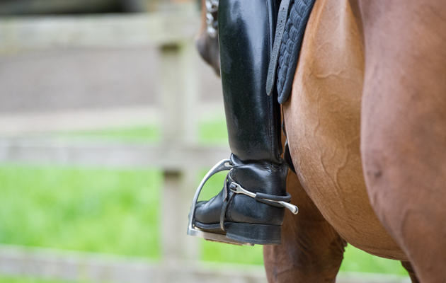 close up of boot in stirrup with spur