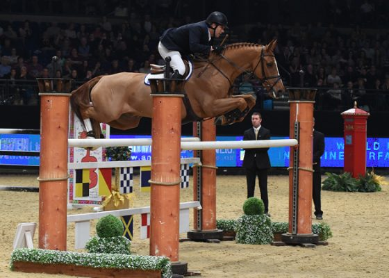 WILLIAM FUNNELL  riding  BILLY ANGELO   during Equerry Horse Feeds Speed Class (Class 08), at The Equestrian.com Liverpool International Horse Show 2016 at Echo Arena, Liverpool, UK on 2nd January 2016