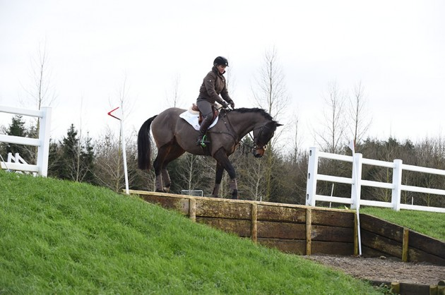 Jonelle Price riding Cooley Showtime during a winter training exercise at Washbrook Farm, Aston-le-Walls, Nr Daventry, Northants, NN11 6RT UK on 13 January 2016