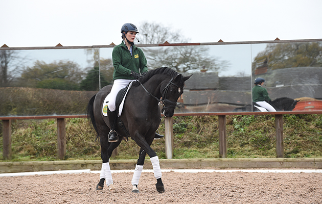 Jodie Stokes on one of Ruth's horses; the 3rd horse during Ruth Edge's training master class at her base at Foston Stud, Hay Lane, Foston in South Derbyshire, UK on 24 November 2015