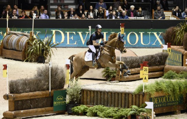 Karin Florent Laghouag and Punch De L'Esques win the Devoucoux indoor derby at Jumping Bordeaux 2016. Picture by Christophe Bricot